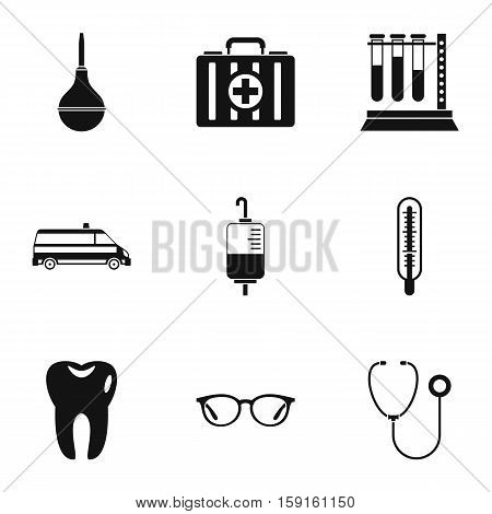 Healing icons set. Simple illustration of 9 healing vector icons for web