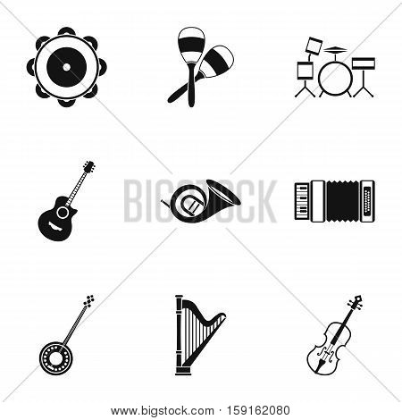 Musical device icons set. Simple illustration of 9 musical device vector icons for web