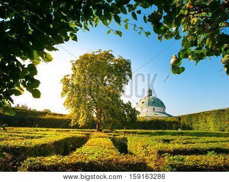 Kromeriz Flower Garden with green park maze and baroque rotunda, UNESCO World Cultural and Natural Heritage, Kromeriz, Moravia Czech Republic