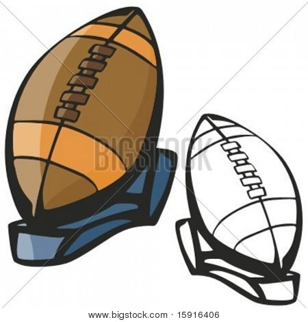 American football ball on a stand. Vector illustration