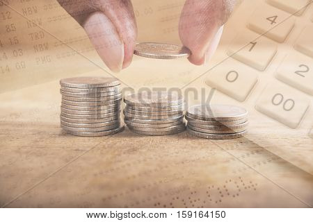 Double exposure stack of coins with account bank or bank book and account banking for finance concept, Money and saving and finance concept Filter color