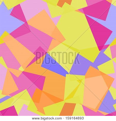 Abstract polygonal yellow and pink seamless vector geometric pattern. Rectangular stained glass geometric seamless vector pattern. Yellow, pink and lavender purple background.