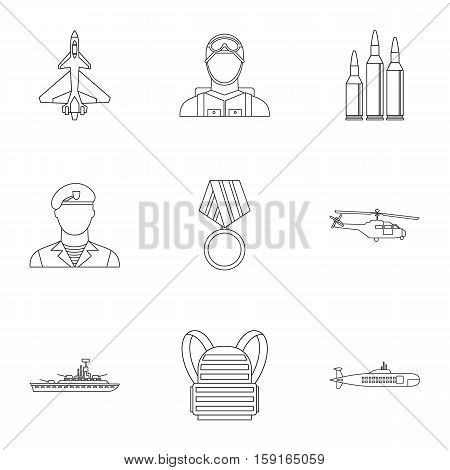 Military weapons icons set. Outline illustration of 9 military weapons vector icons for web
