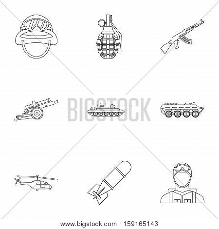War icons set. Outline illustration of 9 war vector icons for web