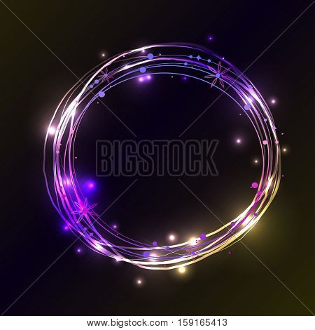 Abstract light circles background. Vector illustration. Blue and violet light frame with place for your text