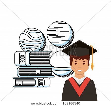 cartoon graduate man and stack of academic books icon over white background. colorful design. vector illustration
