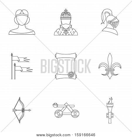 Medieval armor icons set. Outline illustration of 9 medieval armor vector icons for web