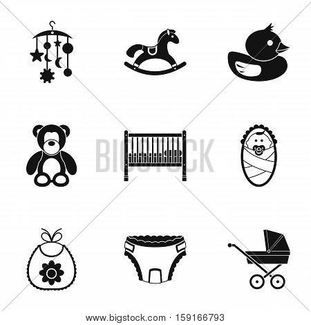 Newborn icons set. Simple illustration of 9 newborn vector icons for web