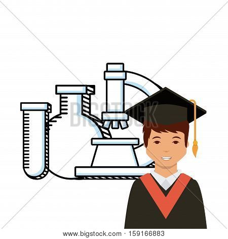cartoon graduate man and microscope and chemestry tool icon over white background. colorful design. vector illustration