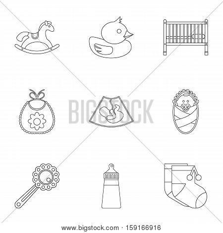 Newborn icons set. Outline illustration of 9 newborn vector icons for web