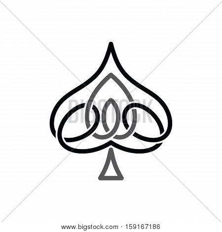 celtic ace of spade overlapped black abstract floral concept logo logotype