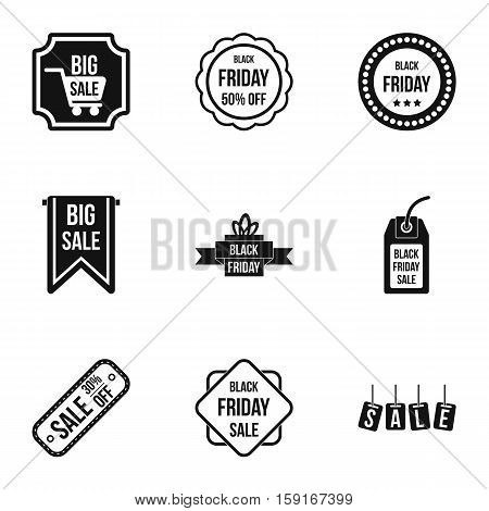 Large discounts icons set. Simple illustration of 9 large discounts vector icons for web