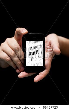 Hands Holding Smartphone, Showing  The Word Mail Printed
