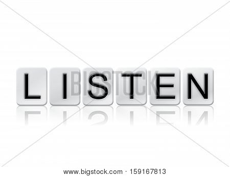 Listen Isolated Tiled Letters Concept And Theme