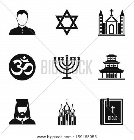 Religious faith icons set. Simple illustration of 9 religious faith vector icons for web