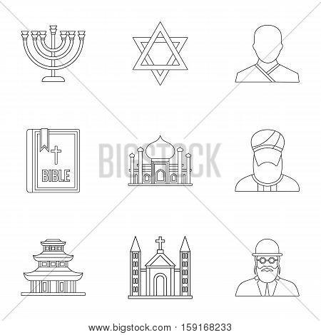 Spirituality icons set. Outline illustration of 9 spirituality vector icons for web