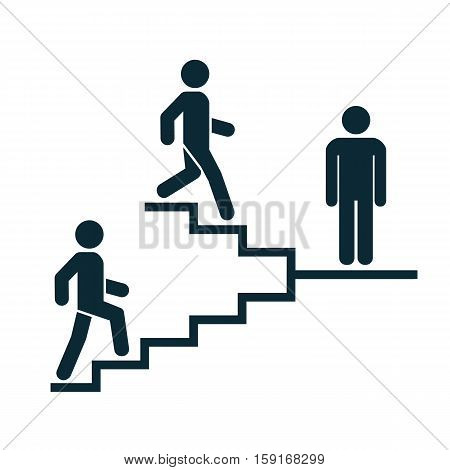 Upstairs-downstairs icon sign. Stand and walk man in the stairs. Career symbol. flat design. Vector illustration.