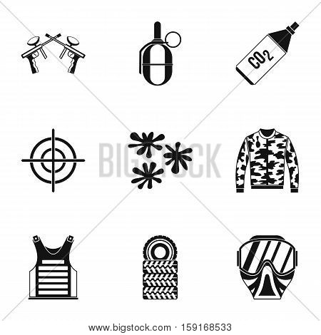 Paintball icons set. Simple illustration of 9 paintball vector icons for web