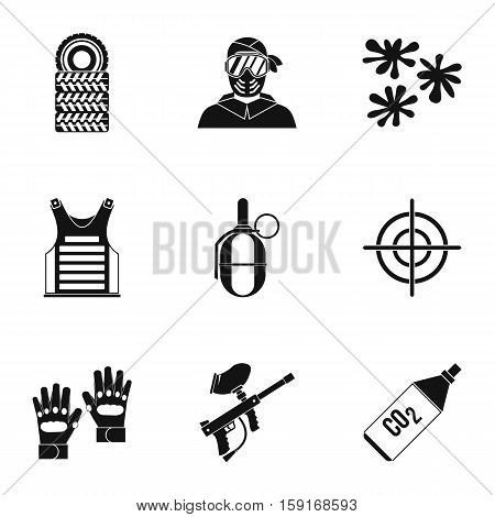 Paintball club icons set. Simple illustration of 9 paintball club vector icons for web