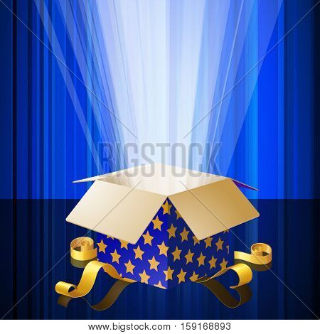 Magic gift box opened with mysterious glow light. Christmas and New Year card, banner, poster template vector decoration.