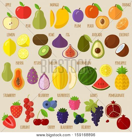 Vector flat design fruits and berries icon set