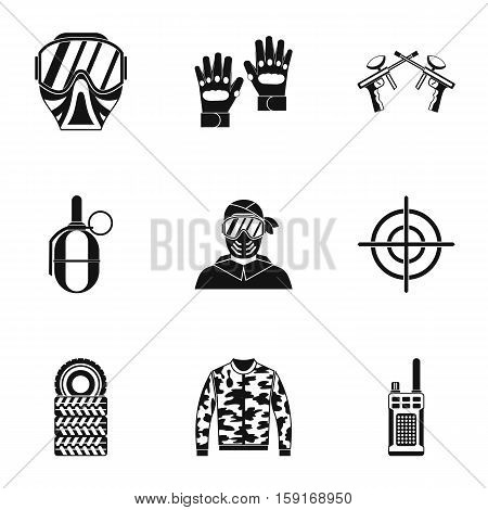 Competition paintball icons set. Simple illustration of 9 competition paintball vector icons for web
