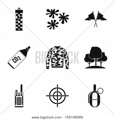 Outfit paintball icons set. Simple illustration of 9 outfit paintball vector icons for web