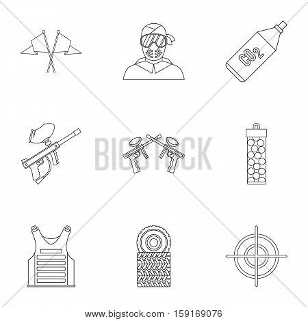 Paintball club icons set. Outline illustration of 9 paintball club vector icons for web
