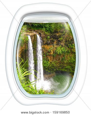 Plane window on ropical Manawaiopuna Falls also called Jurassic Park Falls, Kauai, Hawaii, United States, from a plane through the porthole. Copy space.