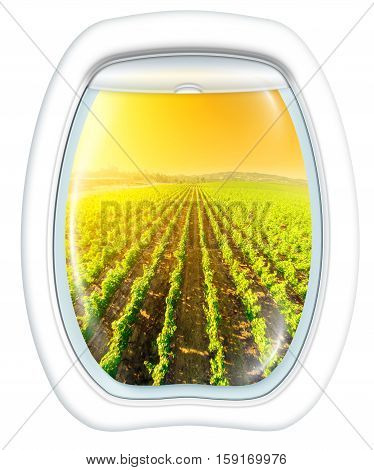 Plane window on Napa Valley at sunset, California, United States, from a plane through the porthole. Copy space.