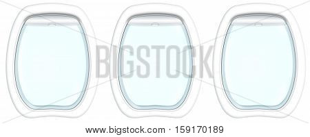Three plane porthole windows on white background with Copy space. 3d illustration.