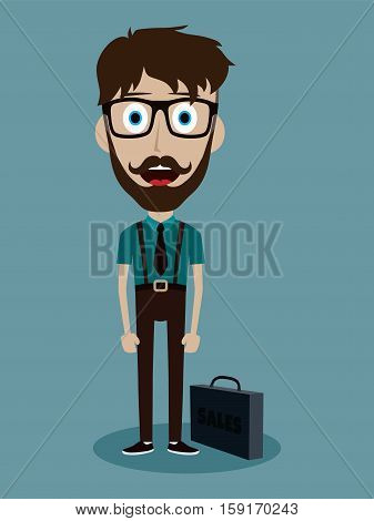 Businessman Office Salesman Guy Funny Cartoon Character