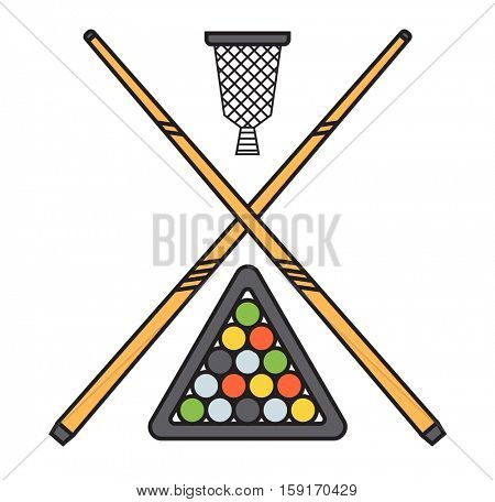 Snooker cue billiard sticks vector.
