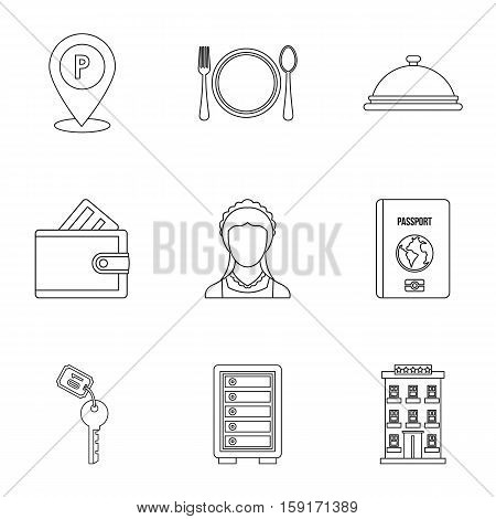 Hostel icons set. Outline illustration of 9 hostel vector icons for web
