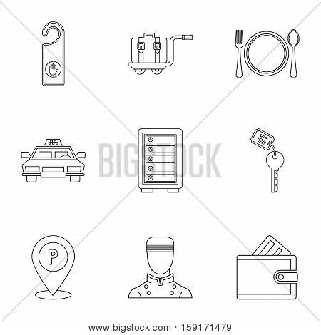 Hostel accommodation icons set. Outline illustration of 9 hostel accommodation vector icons for web
