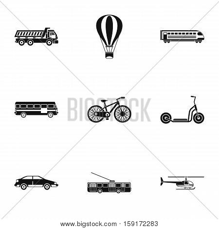 Transport for movement icons set. Simple illustration of 9 transport for movement vector icons for web