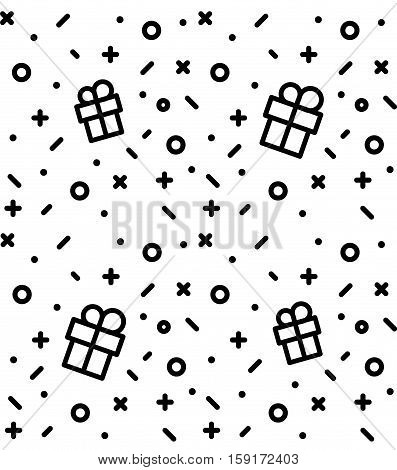 Geometric pattern with gift, circles, dots, pluses and crosses. White holiday background for the cover of the Memphis style or background