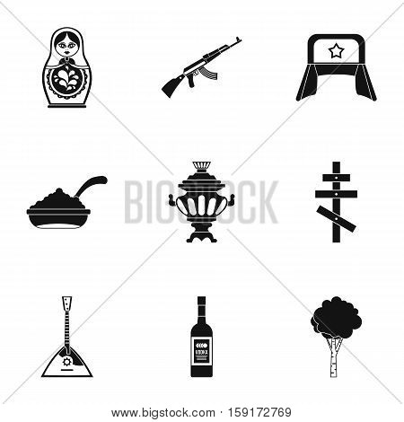 Attractions of Russia icons set. Simple illustration of 9 attractions of Russia vector icons for web
