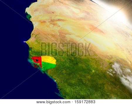 Guinea-bissau With Flag In Rising Sun