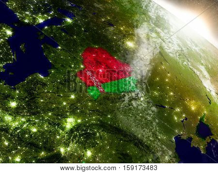 Belarus With Flag In Rising Sun