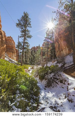 Bryce Canyon National Park sun and snow in Southern Utah.