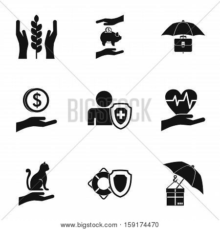 Assurance icons set. Simple illustration of 9 assurance vector icons for web