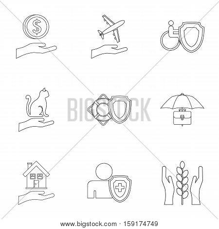 Confidence icons set. Outline illustration of 9 confidence vector icons for web