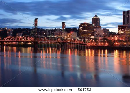 Downtown Portland Oregon At Twilight