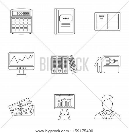 Earnings icons set. Outline illustration of 9 earnings vector icons for web