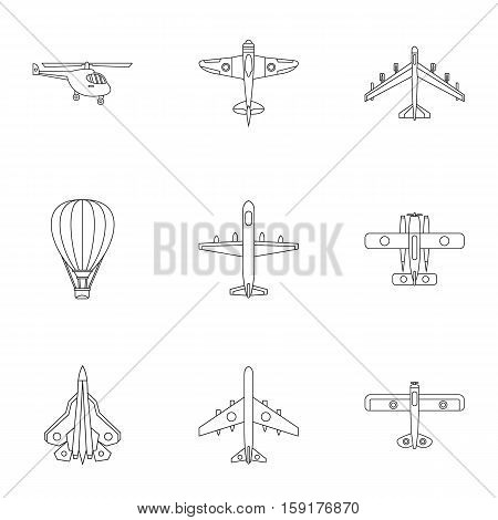 Aircraft icons set. Outline illustration of 9 aircraft vector icons for web