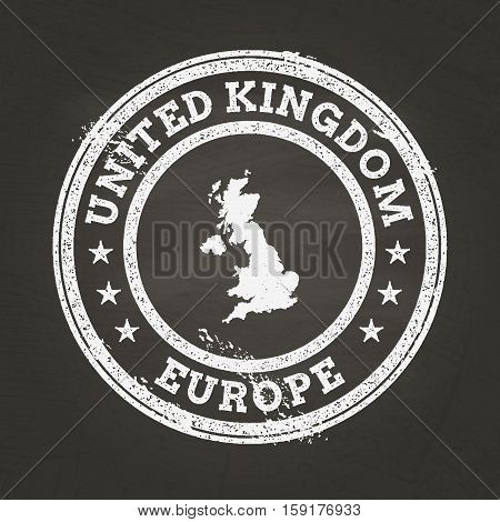 White Chalk Texture Grunge Stamp With United Kingdom Of Great Britain And Northern Ireland Map On A