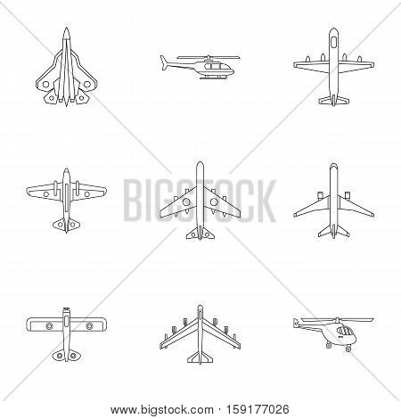 Army planes icons set. Outline illustration of 9 army planes vector icons for web