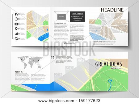 Set of business templates for square tri fold brochures. Leaflet cover, easy editable layout. City map with streets. Flat design template, tourism businesses, abstract vector illustration