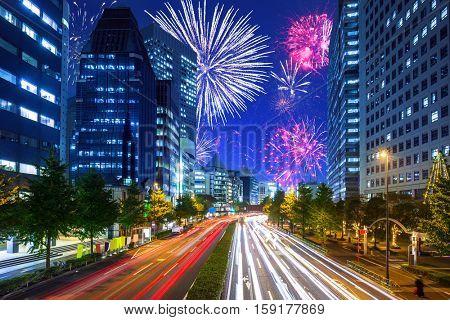 New Years firework display in Tokyo, Japan